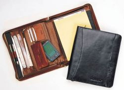 Leather Zip-Around Pad Organizer