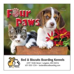 Mini Wall Calendar - 13 Month - Four Paws